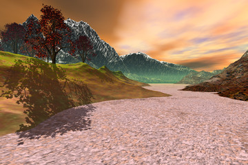 Daylight on the desert, an autumn landscape, trees with red and yellow leaves, snowy mountains and clouds in the sky.