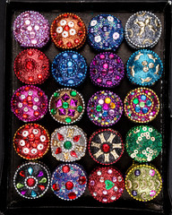 Set of Small colorful jewellery boxes decorated with glitter, sequins and zircons