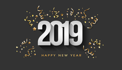 Greeting Card. Happy New Year 2019 golden confetti
