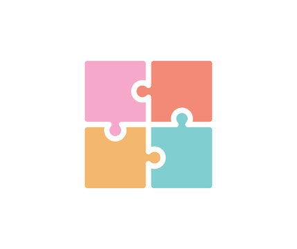 Trendy flat colorful puzzle icon. Vector illustration of four puzzle matching pieces for concepts of games, toys, business and start up strategies and solutions