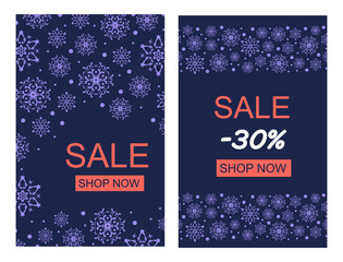 Vector Illustration. Set of Vertical Merry Christmas greeting card purple snowflakes on dark blue background. Sale poster with Shop Now button. Christmas design for banners, posters, massages
