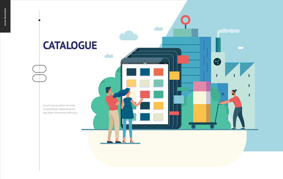 Business series, color 1 - product catalogue - modern flat vector illustration concept of customers choosing a product Website interaction and product line. Creative landing page design template