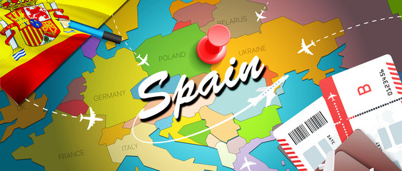 Spain travel concept map background with planes,tickets. Visit Spain travel and tourism destination concept. Spain flag on map. Planes and flights to Spanish holidays to Madrid,Valencia