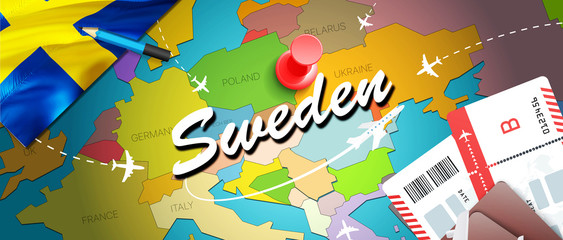 Sweden travel concept map background with planes,tickets. Visit Sweden travel and tourism destination concept. Sweden flag on map. Planes and flights to Swedish holidays to Stockholm,Malmo