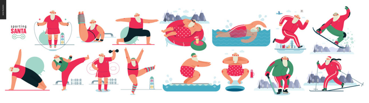 Sporting Santa - sport exercises - modern flat vector concept illustration set of cheerful Santa Claus doing aerobic and fitness exercises in the gym, outdoor and water activity, xmas fitness activity