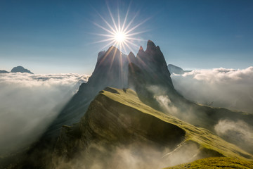 Seceda among the clouds Dolomites Wall mural