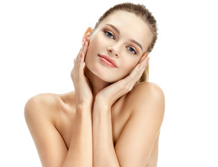 Attractive girl on white background. Perfect skin. Beauty & Spa Concept.