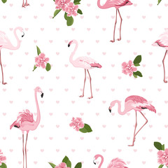 Poster Flamingo Pink exotic flamingo birds, bright tropical camelia flowers, green leaves and hearts on white background. Stylish seamless pattern for fashion, fabric, textile, decoration. Vector design illustration.