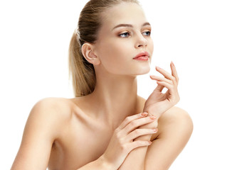 Image of beautiful woman on white background. Youth and skin care concept