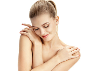 Pretty woman with healthy skin on white background. Youth and skin care concept