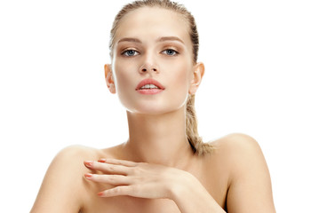 Image of attractive woman with perfect skin on white background. Skin care concept