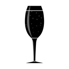 simple flat image of a wine glass with a carbonated drink
