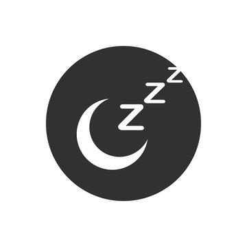 zzz moon sleep icon in circle, sleeping, zzz vector web icon isolated on yellow background