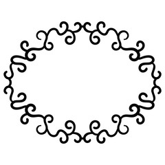 Outline curly frame. Ornamental round doodle  element isolated on white background. Vector illustration.