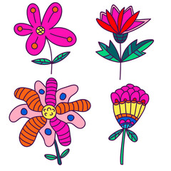 Set of cartoon fantasy flowers. Doodle floral elements isolated on white background. Vector illustration.