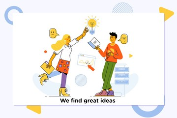 Great ideas competition.Innovation, Brainstorming, Creativity Concept. Characters Working Together on new Project.