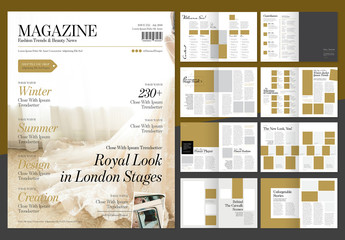 Elegant Fashion Magazine Layout with Gold Accents