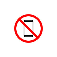 Forbidden phone icon can be used for web, logo, mobile app, UI, UX