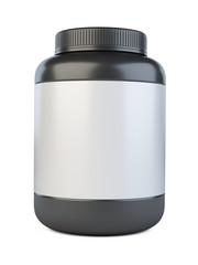 Black protein jar - template front view. Food for sport.