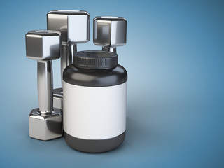 Steel dumbbells with Sports nutrition jar.