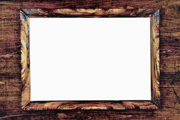 brown strict wooden frame passepartout on white background