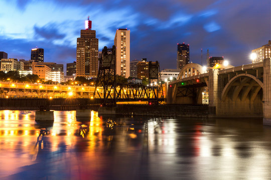 Cityscape of St. Paul, Minnesota at night