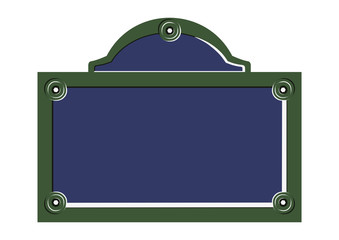 Paris street sign. Flat vector of blank French street plate. Wall mural