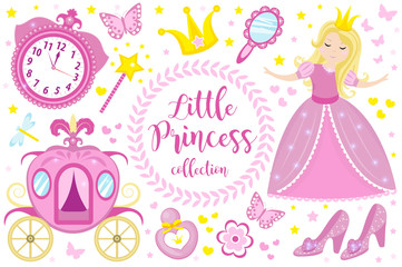 Little Princess cute pink set objects, icons cartoon style . Pretty girl in beautiful dress with a crown, carriage, mirror, perfume collection. Isolated on white background. Vector illustration.