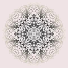 Pattern of mandala purple. Vector illustration. Modern Decorative floral color mandala. Decorative Cicle ornament. Floral design.
