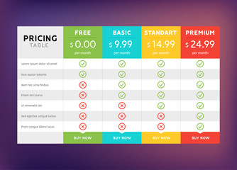 Pricing table design for business. Price plan web hosting or service. Table chart comparison of tariff