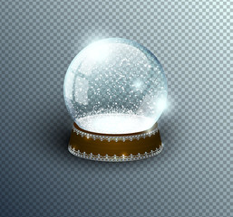 Vector snow globe empty template isolated on transparent background. Christmas magic ball. Glass ball dome, wooden stand with silver crown decor. Winter holiday crystal, snow inside. Xmas toy sphere.
