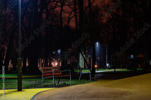 Romantic Park Bench At Night Stock Photo And Royalty Free Images