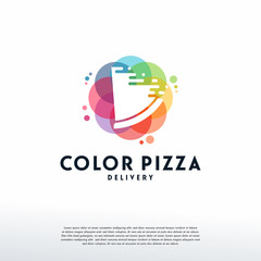Colorful Fast Pizza logo vector, Pizza logo designs template, design concept, logo, logotype element for template