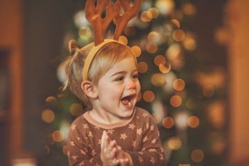 Baby on kid's Christmas party