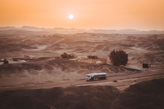 Truck driving through the desert