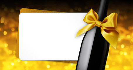 Fotomurales - merry christmas greeting gift card with wine bottle golden ribbon bow on golden blurred lights background template white copy space