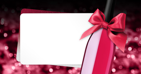 Fotomurales - merry christmas greeting gift card with wine bottle red ribbon bow on red blurred lights background template white copy space