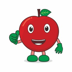 Cute character of apple on isolated background