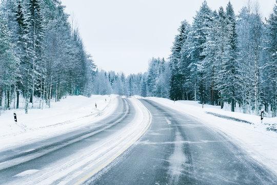 Road in snowy winter Lapland