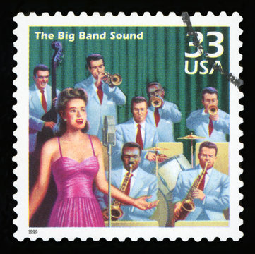UNITED STATES - CIRCA 1999: a postage stamp printed in USA showing an image of a forties era big band, circa 1999.
