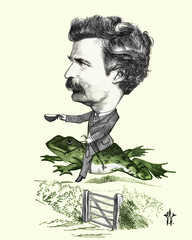 Restored reproduction with added colorization of caricature of Mark Twain. Original scanned from: Cartoon Portraits, Biographical Sketches, Men of the Day. The Illustrations of Waddy. Published 1873.