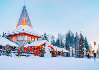 Printed kitchen splashbacks Northern Europe Snowman at Santa Office in Santa Claus Village in Rovaniemi, Lapland, Finland