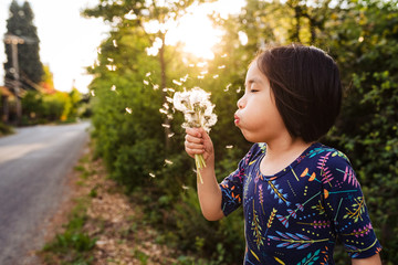 Young girl blowing on a dandelion