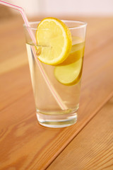 lemonade with lemon slices in a glass