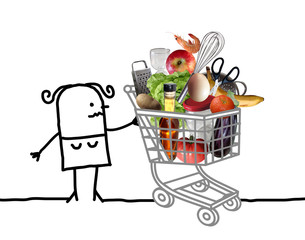 Cartoon Woman with Full Shopping Cart