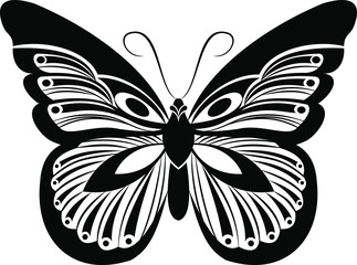 Monarch Butterfly vector art stencil for tattoo or t-shirt print