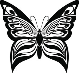 Butterfly vector art stencil for tattoo or t-shirt print