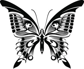 Machaon Butterfly vector art stencil for tattoo or t-shirt print