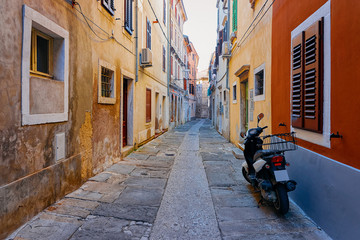 Motorcycle in the old street of Izola Slovenia