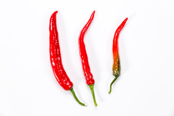 Chilli peppers isolated on white background